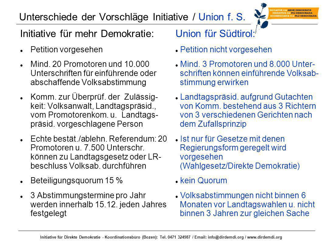 Unterschiede der Vorschläge Initiative / Union f. S.