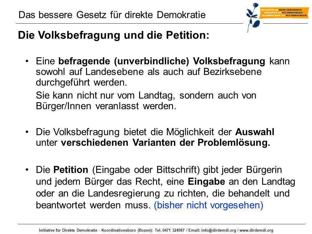 Die Volksbefragung und die Petition: