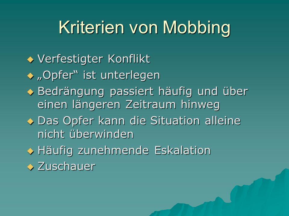 """Kriterien von Mobbing Verfestigter Konflikt """"Opfer ist unterlegen"""