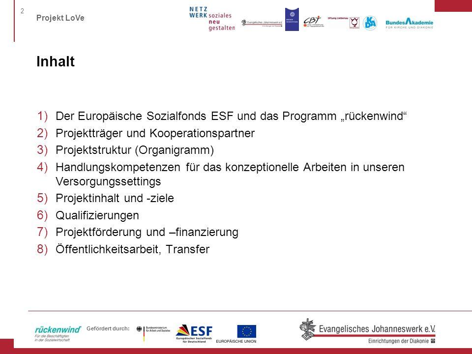"""Inhalt Der Europäische Sozialfonds ESF und das Programm """"rückenwind"""