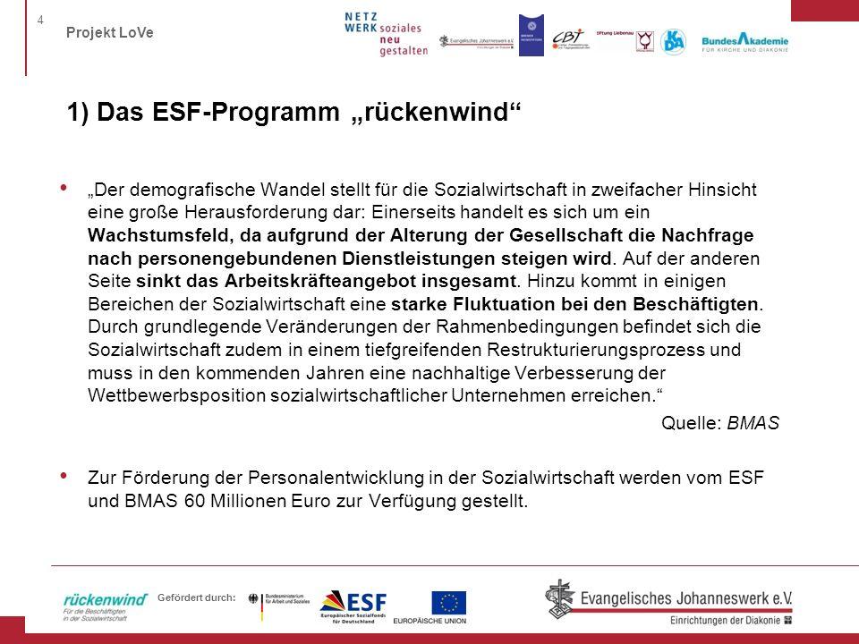 """1) Das ESF-Programm """"rückenwind"""
