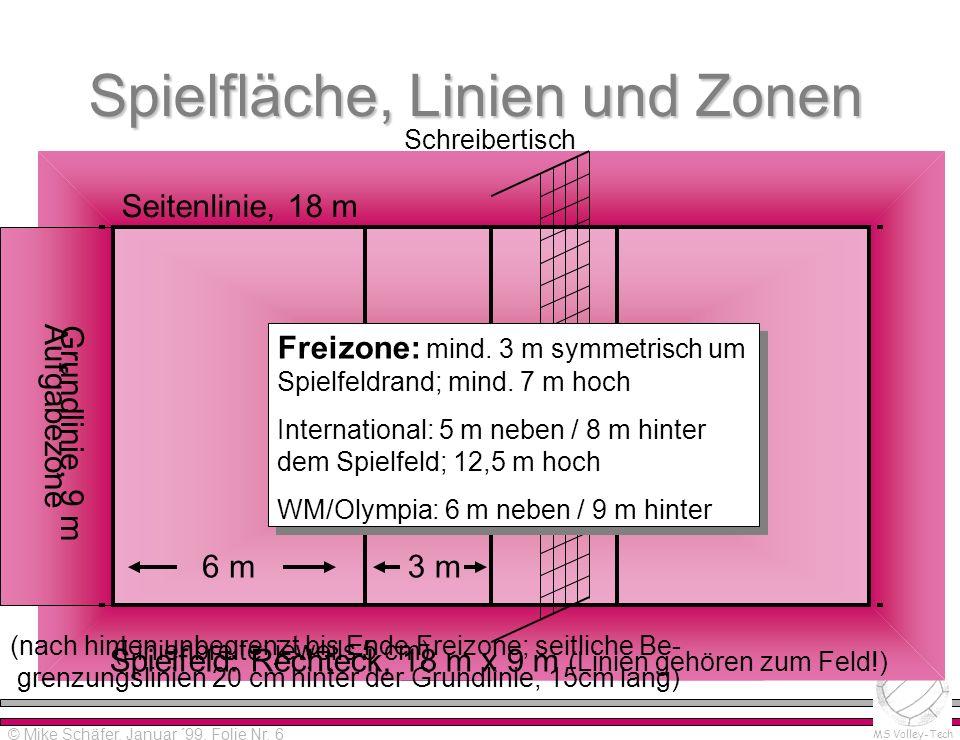 Spielfläche, Linien und Zonen