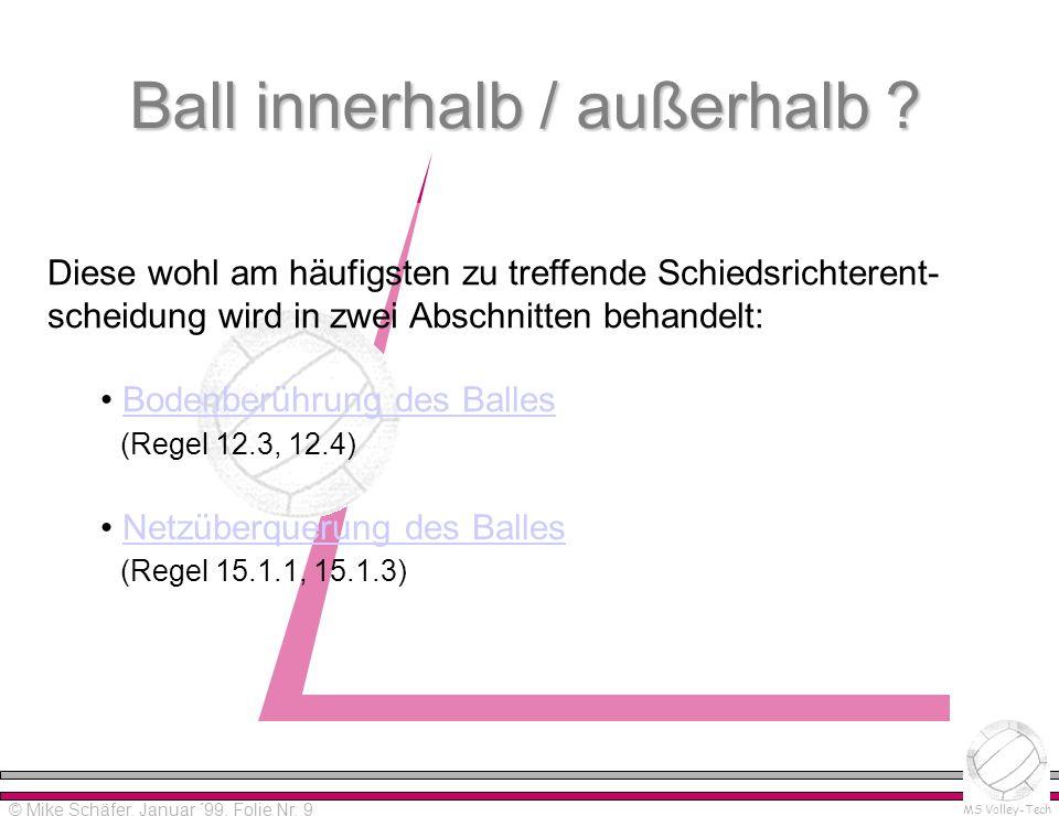 Ball innerhalb / außerhalb