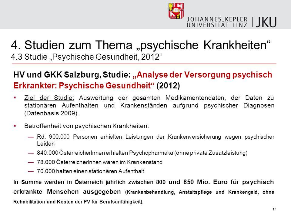 """4. Studien zum Thema """"psychische Krankheiten 4"""