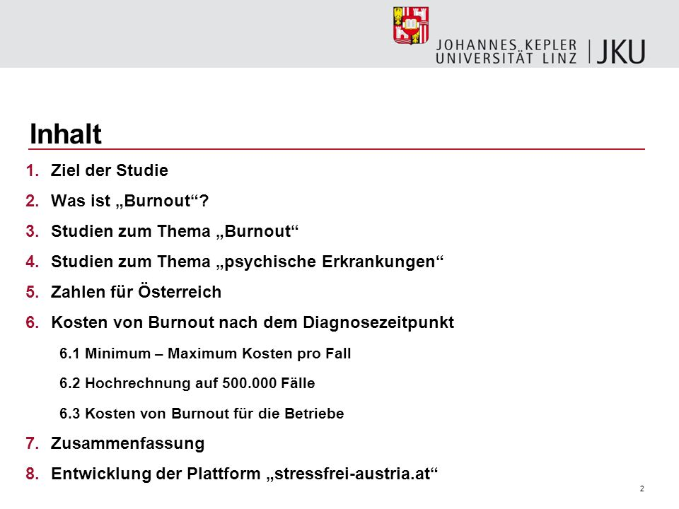 """Inhalt Ziel der Studie Was ist """"Burnout Studien zum Thema """"Burnout"""