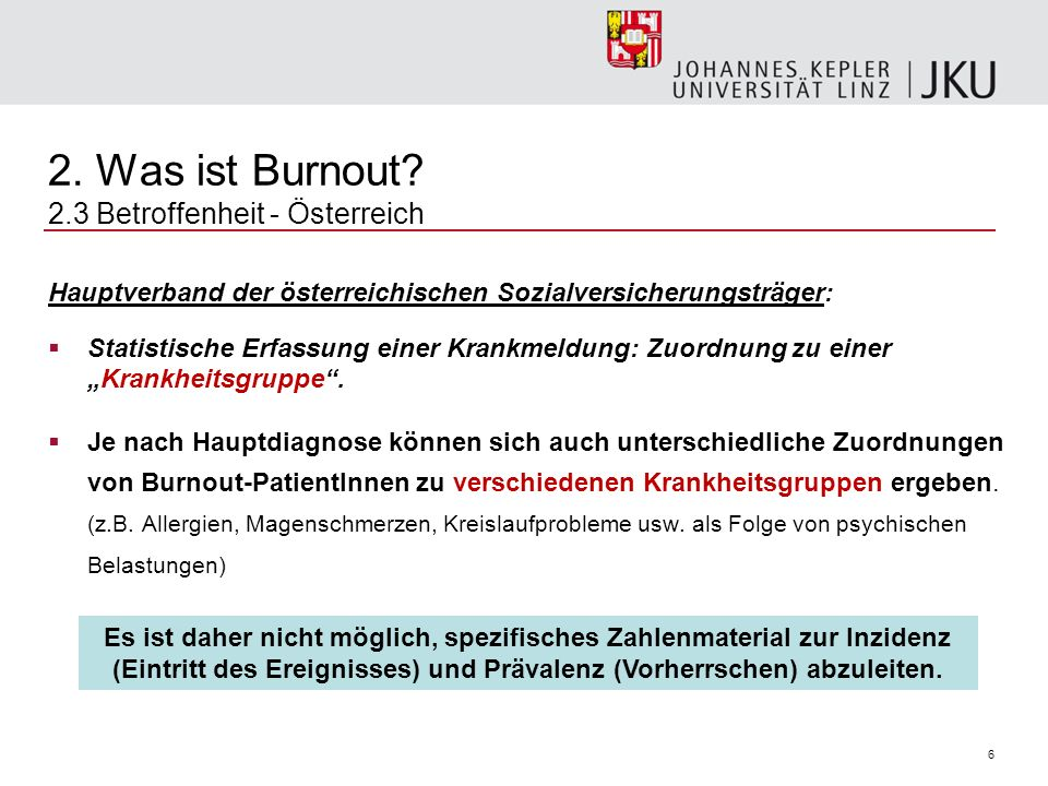 2. Was ist Burnout 2.3 Betroffenheit - Österreich