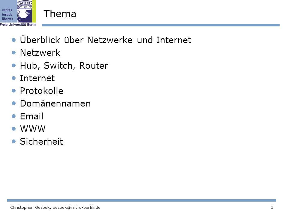 Thema Überblick über Netzwerke und Internet Netzwerk