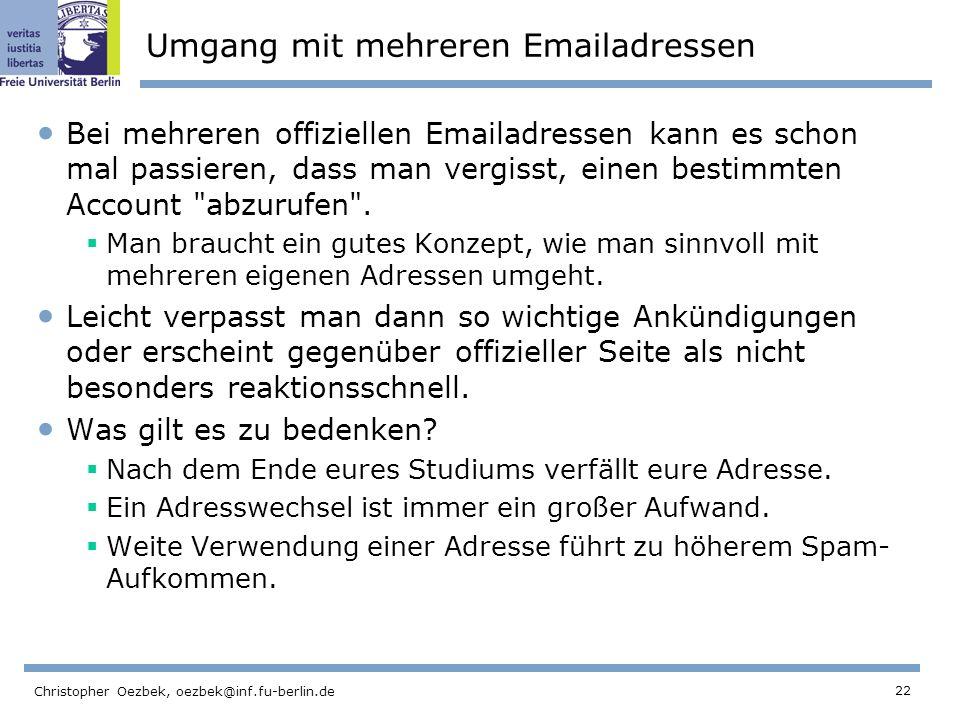 Umgang mit mehreren Emailadressen