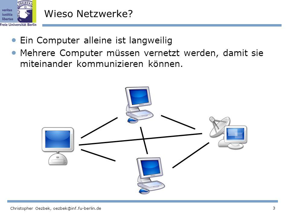 Wieso Netzwerke Ein Computer alleine ist langweilig