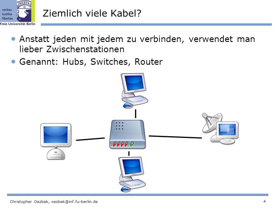 Ziemlich viele Kabel Anstatt jeden mit jedem zu verbinden, verwendet man lieber Zwischenstationen.