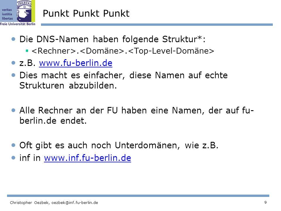 Punkt Punkt Punkt Die DNS-Namen haben folgende Struktur*: