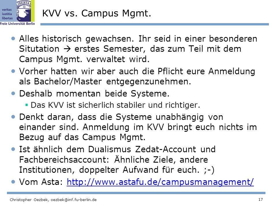 KVV vs. Campus Mgmt.