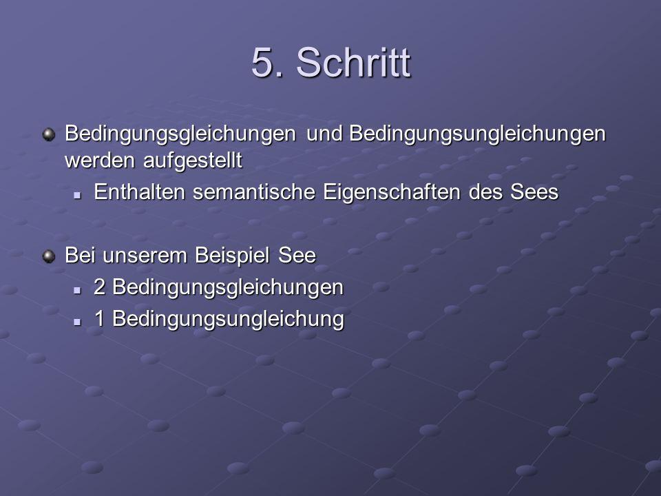 5. Schritt Bedingungsgleichungen und Bedingungsungleichungen werden aufgestellt. Enthalten semantische Eigenschaften des Sees.