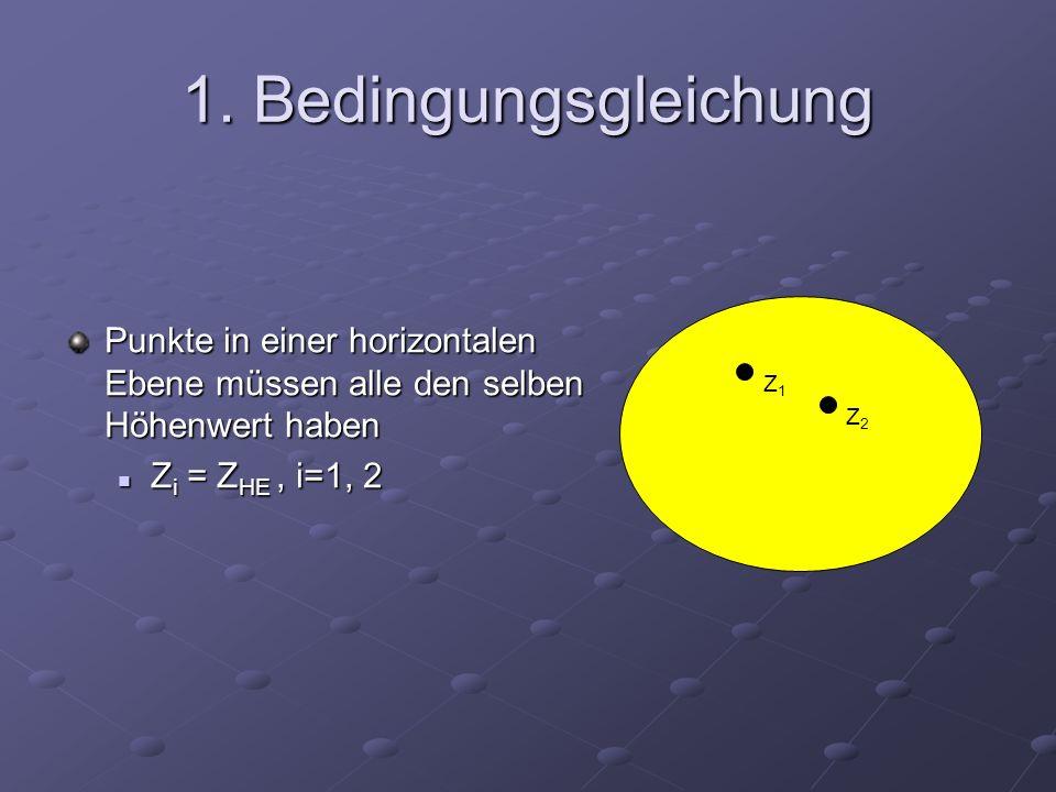 1. Bedingungsgleichung Punkte in einer horizontalen Ebene müssen alle den selben Höhenwert haben. Zi = ZHE , i=1, 2.