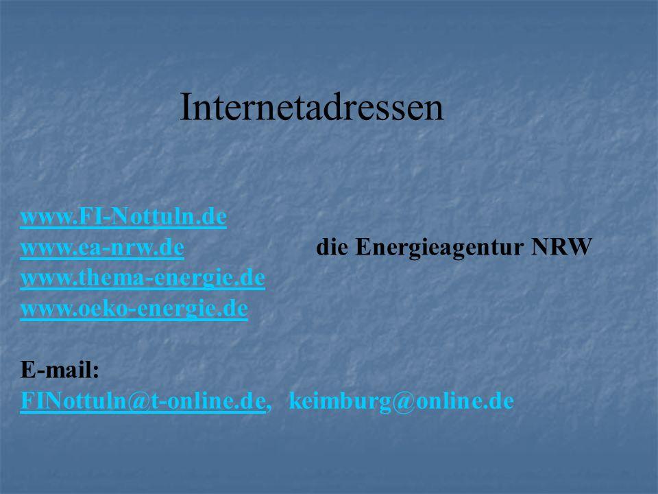 Internetadressen www.FI-Nottuln.de. www.ea-nrw.de die Energieagentur NRW. www.thema-energie.de.