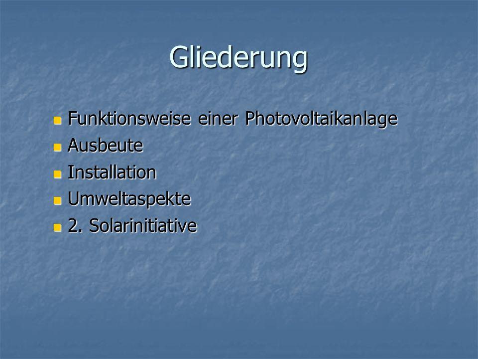 Gliederung Funktionsweise einer Photovoltaikanlage Ausbeute
