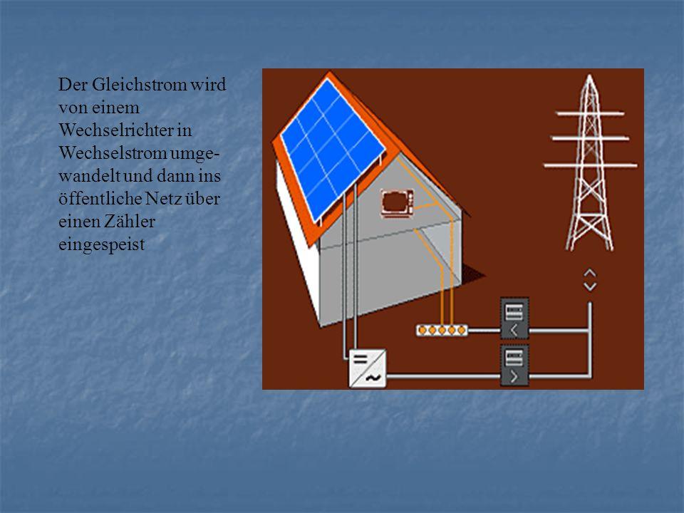 Der Gleichstrom wird von einem Wechselrichter in Wechselstrom umge-wandelt und dann ins öffentliche Netz über einen Zähler eingespeist
