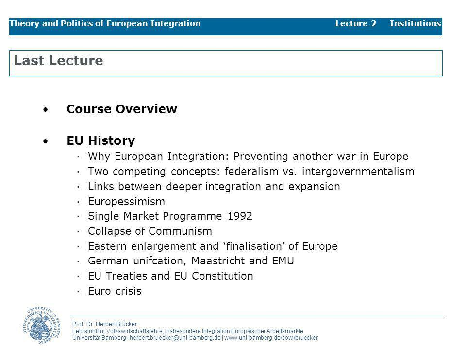 Last Lecture Course Overview EU History