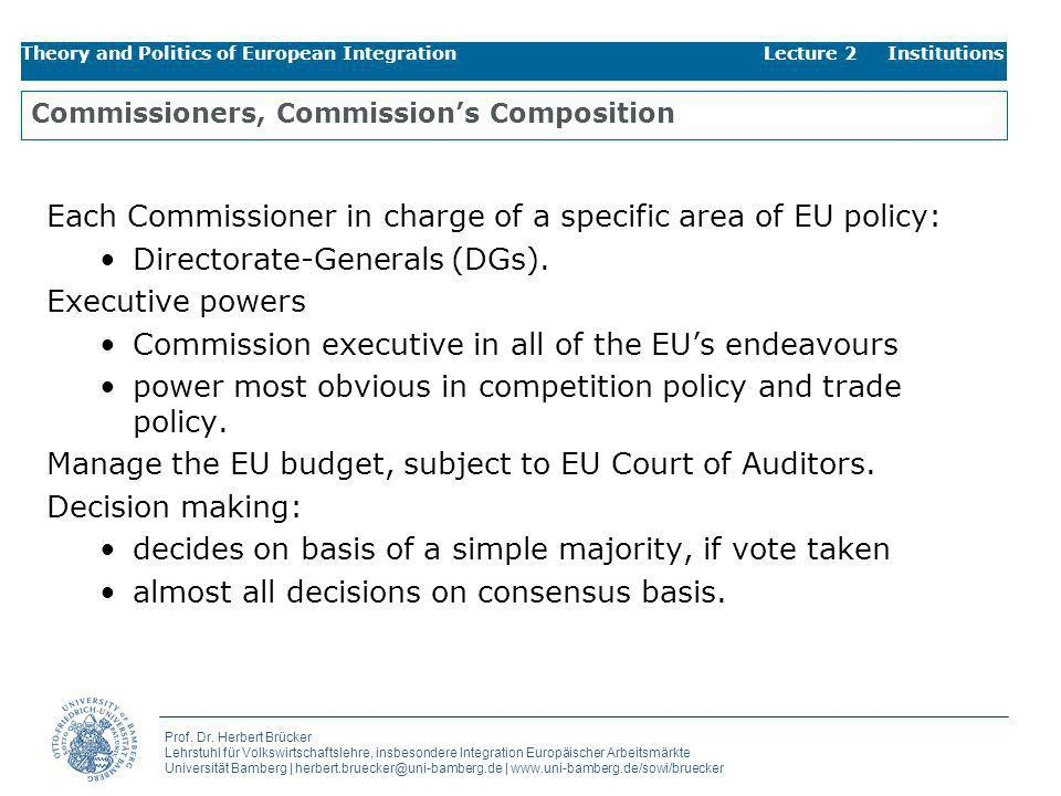 Commissioners, Commission's Composition