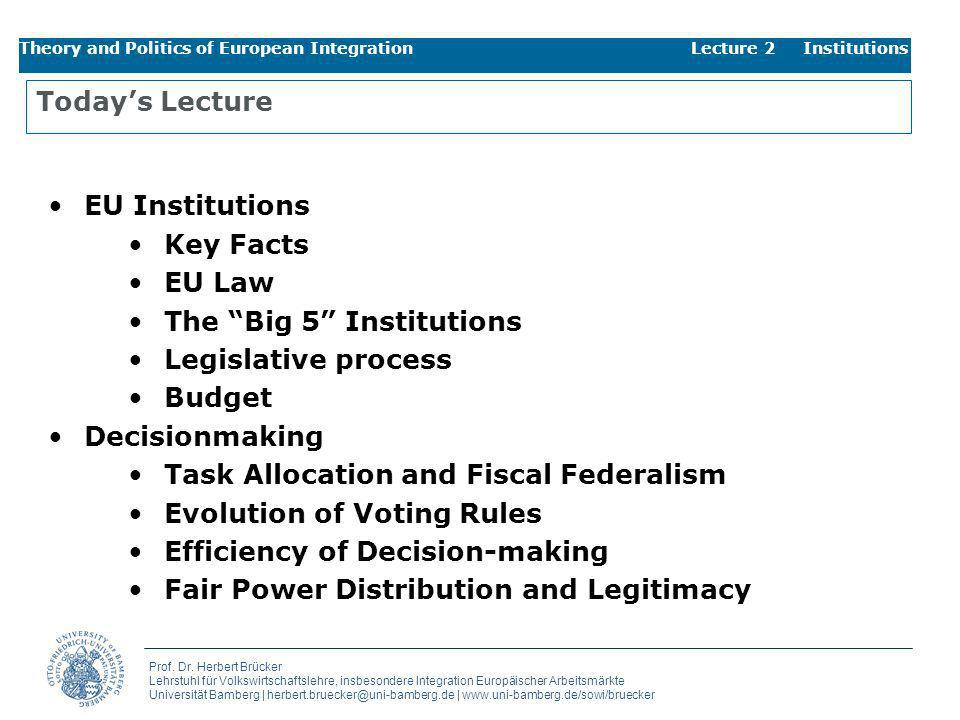 The Big 5 Institutions Legislative process Budget Decisionmaking