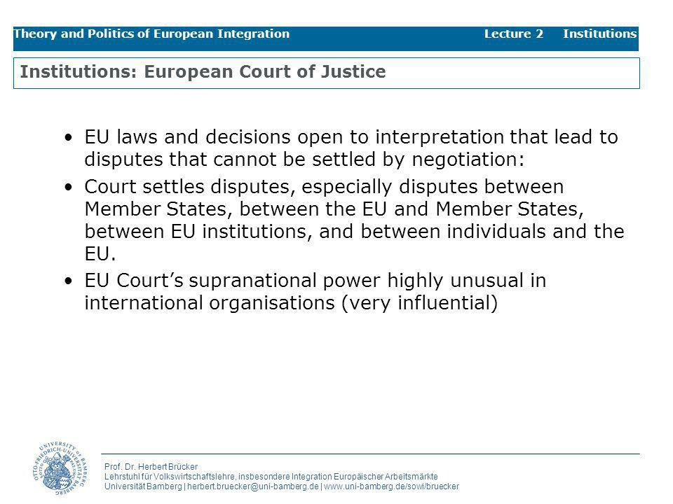 Institutions: European Court of Justice