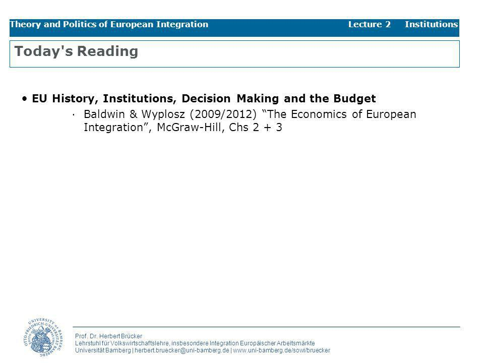 Theory and Politics of European Integration Lecture 2 Institutions