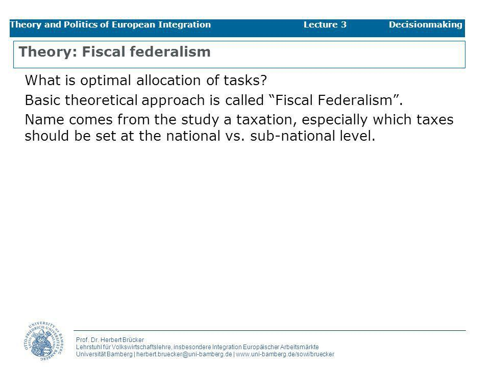 Theory: Fiscal federalism