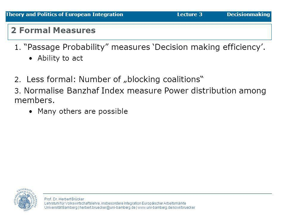 Theory and Politics of European Integration Lecture 3 Decisionmaking