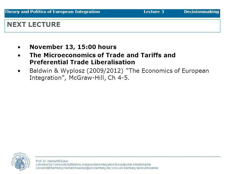 NEXT LECTURE November 13, 15:00 hours