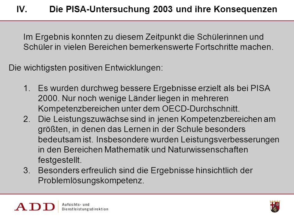 Die PISA-Untersuchung 2003 und ihre Konsequenzen