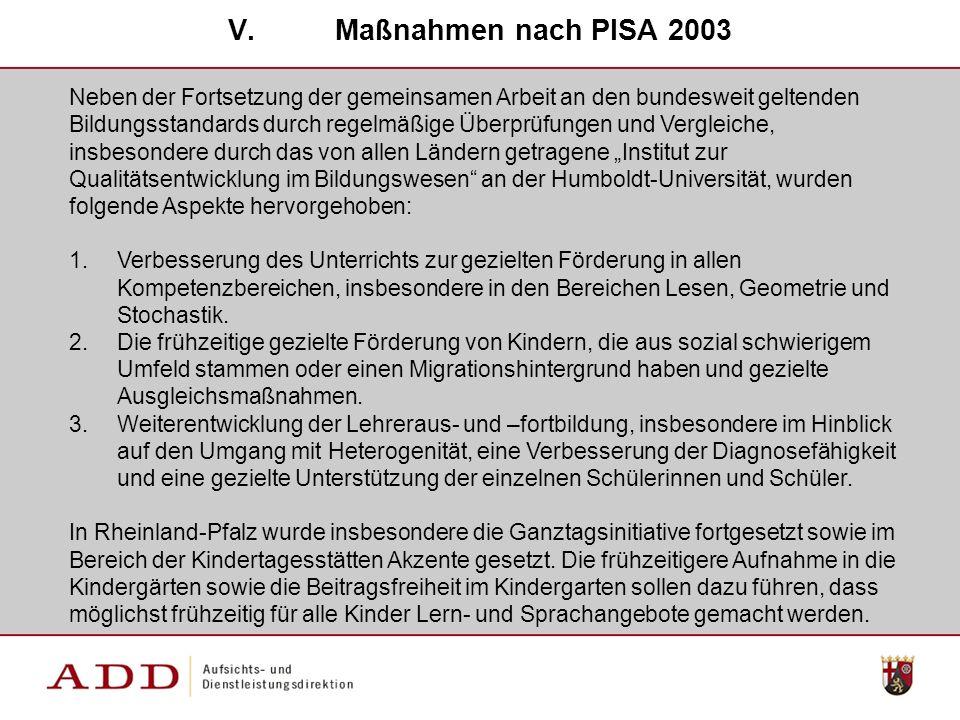 Maßnahmen nach PISA 2003