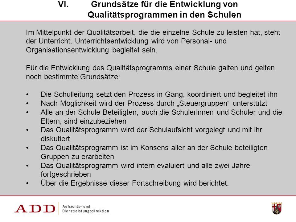Grundsätze für die Entwicklung von Qualitätsprogrammen in den Schulen