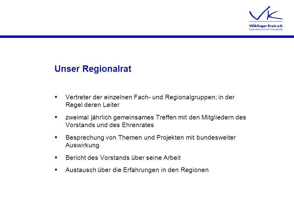 Unser Regionalrat Vertreter der einzelnen Fach- und Regionalgruppen; in der Regel deren Leiter.