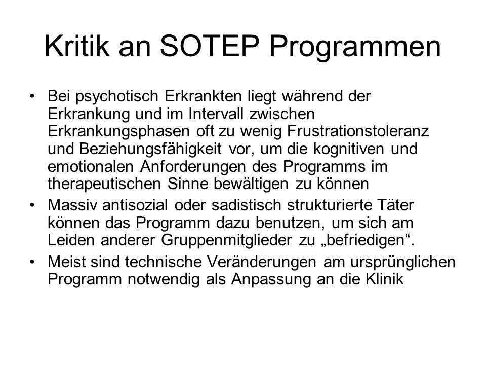 Kritik an SOTEP Programmen