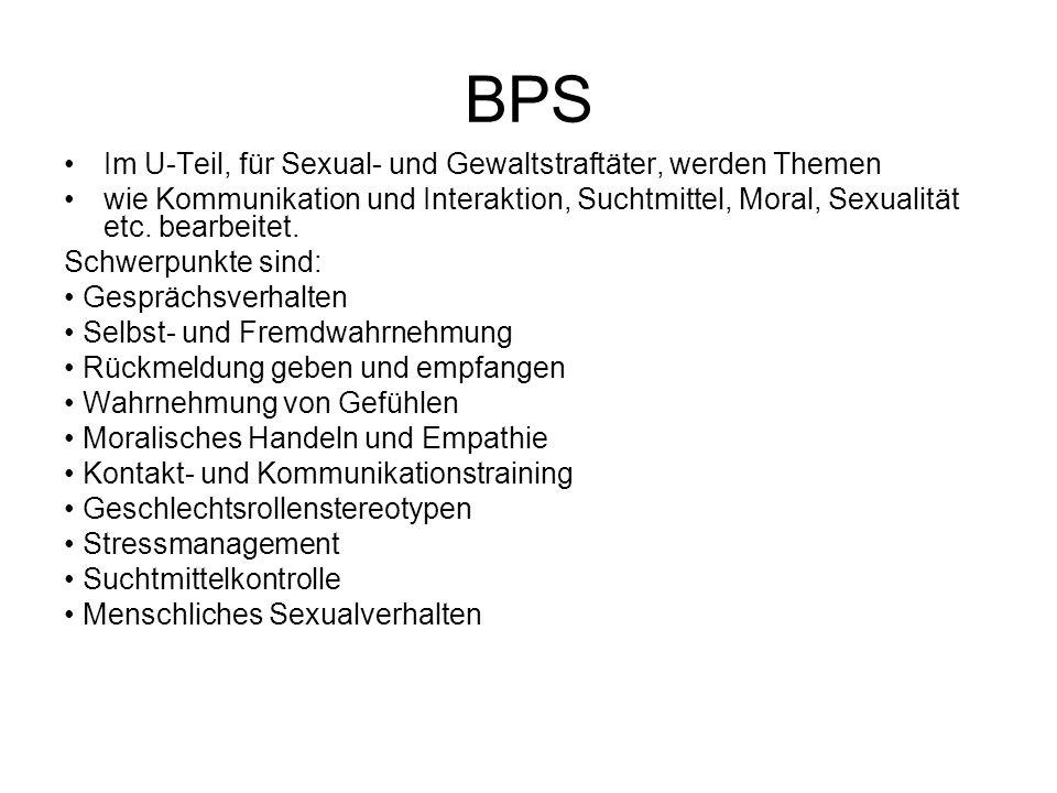 BPS Im U-Teil, für Sexual- und Gewaltstraftäter, werden Themen
