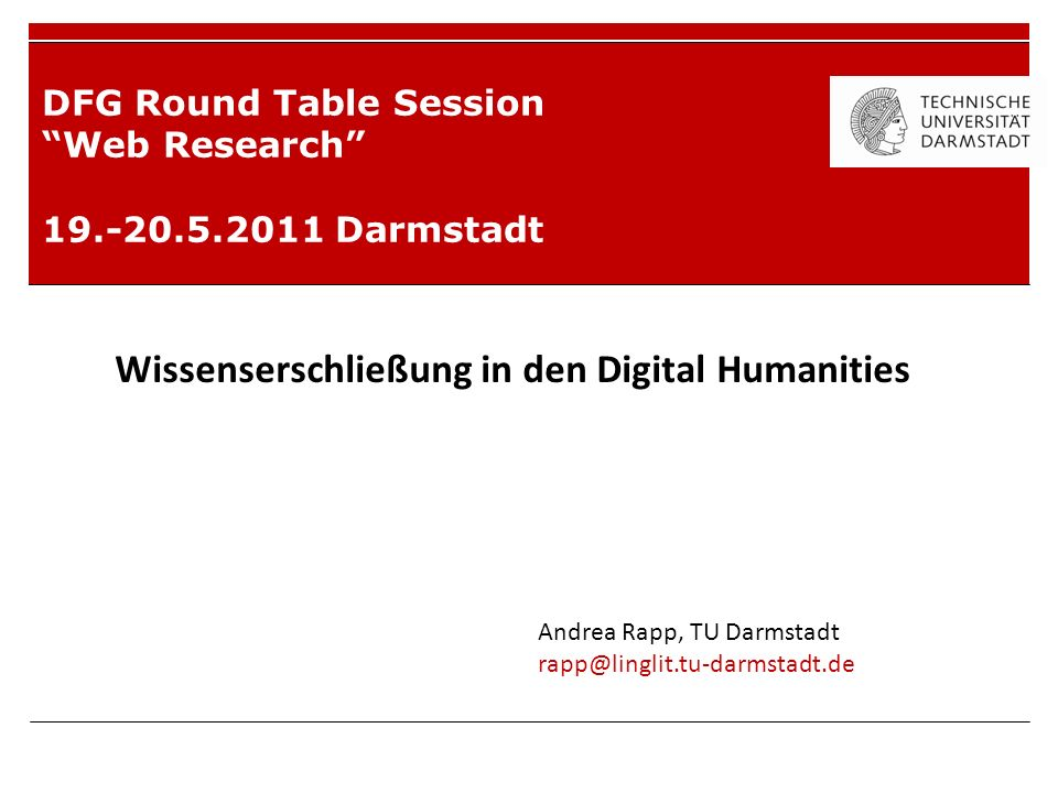 DFG Round Table Session Web Research Darmstadt