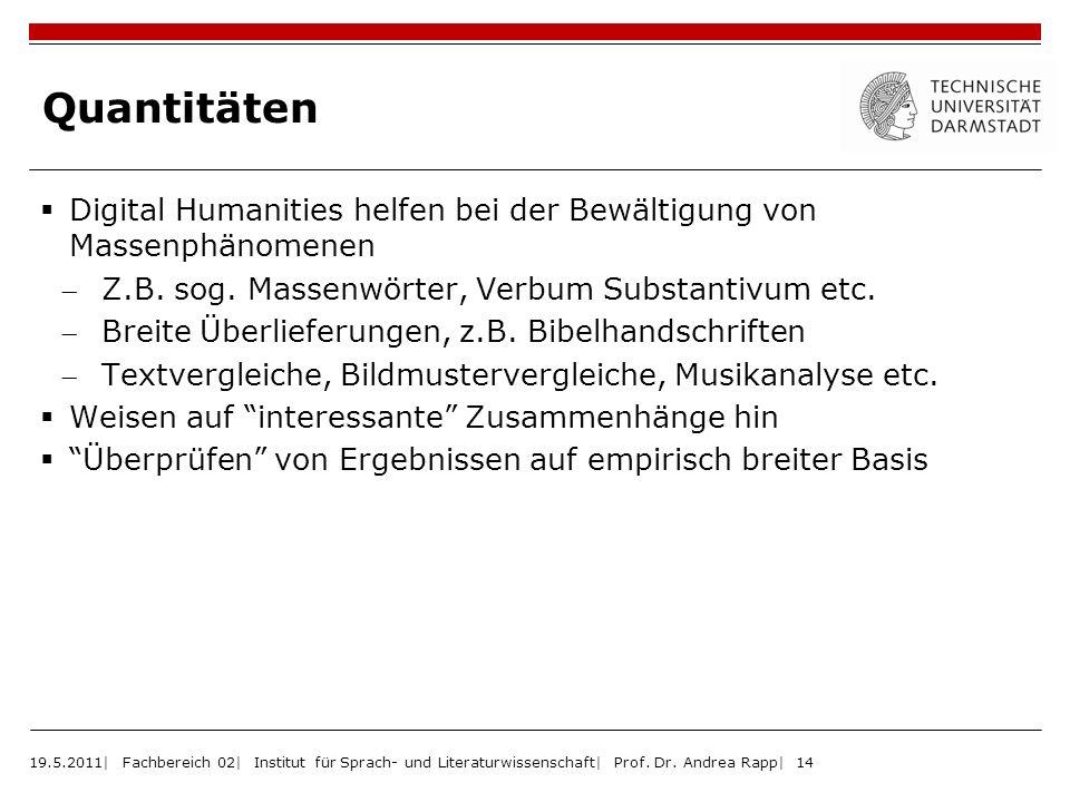 Quantitäten Digital Humanities helfen bei der Bewältigung von Massenphänomenen. Z.B. sog. Massenwörter, Verbum Substantivum etc.