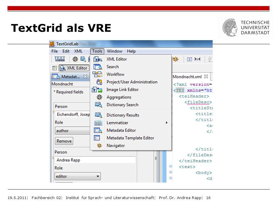 TextGrid als VRE 19.5.2011| Fachbereich 02| Institut für Sprach- und Literaturwissenschaft| Prof.