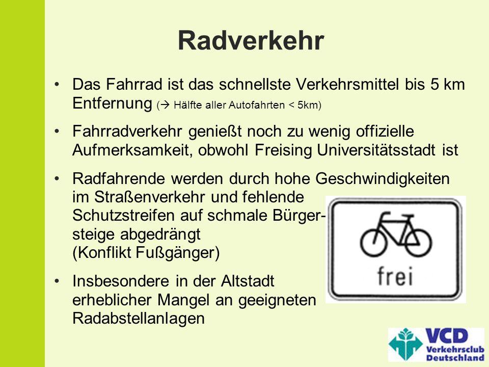 Radverkehr Das Fahrrad ist das schnellste Verkehrsmittel bis 5 km Entfernung ( Hälfte aller Autofahrten < 5km)