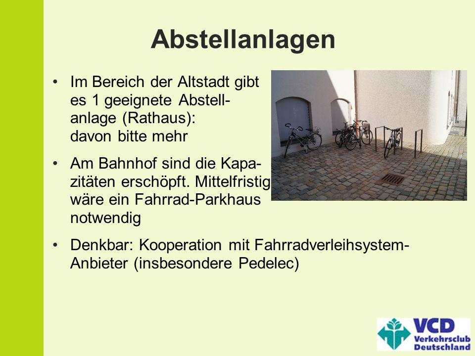 Abstellanlagen Im Bereich der Altstadt gibt es 1 geeignete Abstell- anlage (Rathaus): davon bitte mehr.