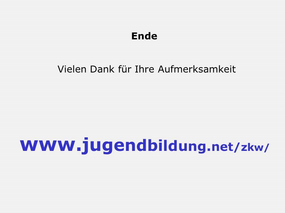 www.jugendbildung.net/zkw/ Ende Vielen Dank für Ihre Aufmerksamkeit
