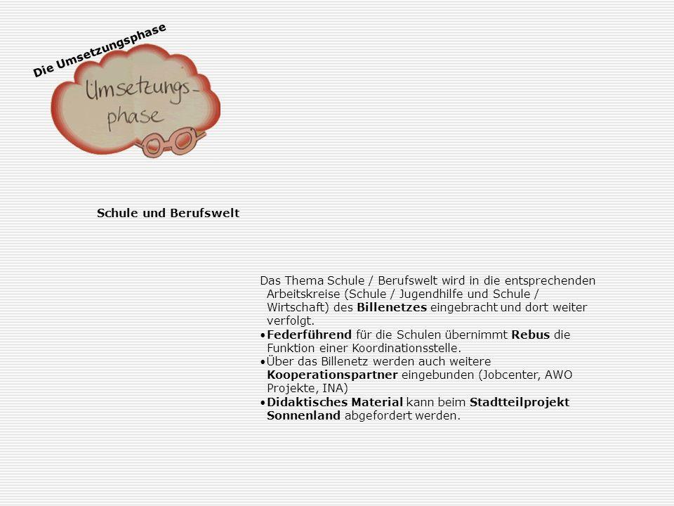 Die Umsetzungsphase Schule und Berufswelt.