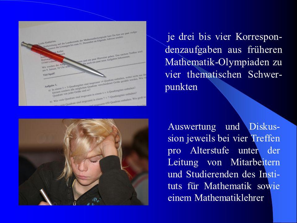 je drei bis vier Korrespon-denzaufgaben aus früheren Mathematik-Olympiaden zu vier thematischen Schwer-punkten