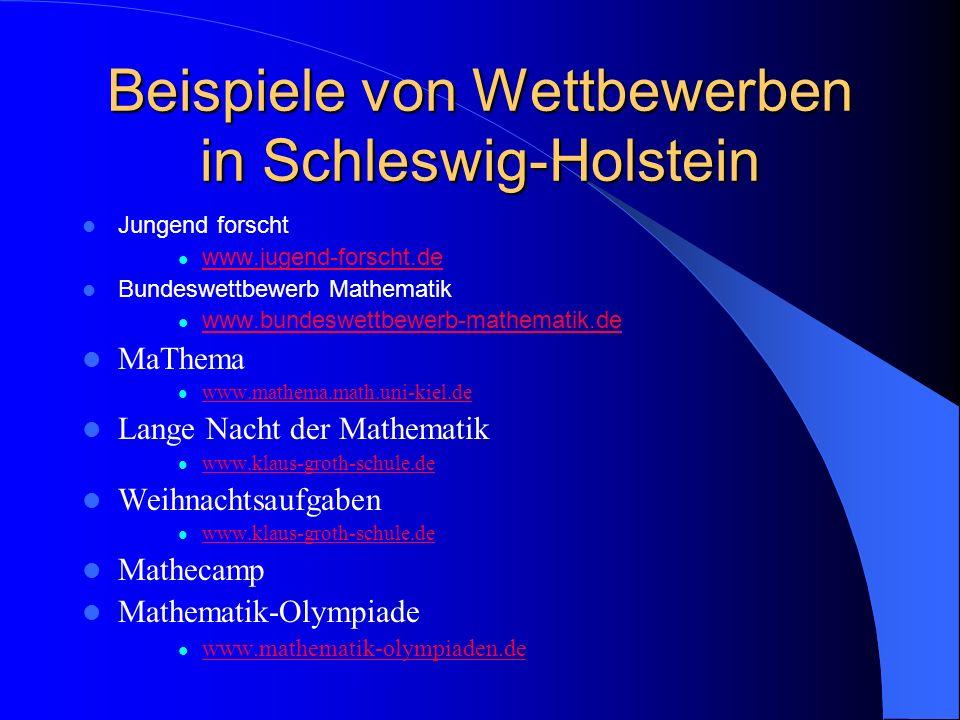 Beispiele von Wettbewerben in Schleswig-Holstein