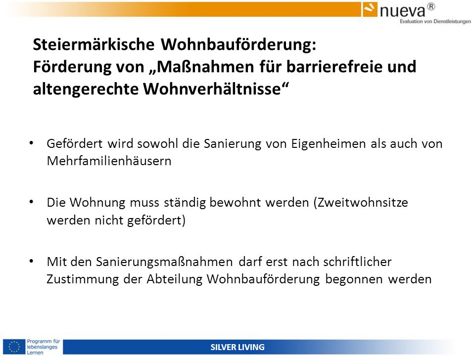 """Steiermärkische Wohnbauförderung: Förderung von """"Maßnahmen für barrierefreie und altengerechte Wohnverhältnisse"""