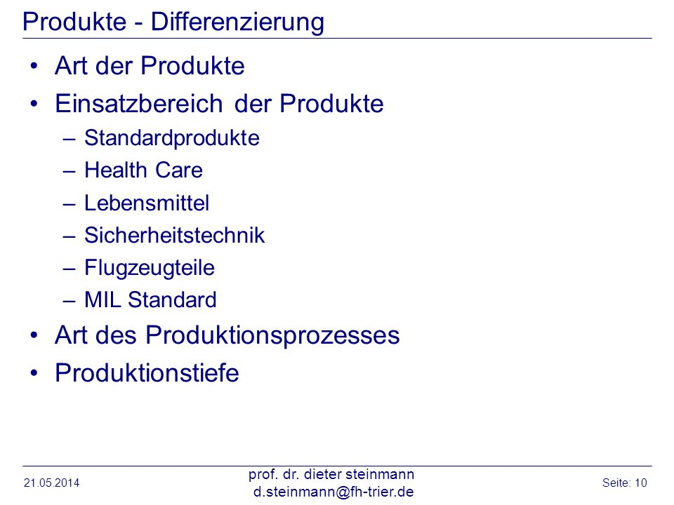 Produkte - Differenzierung