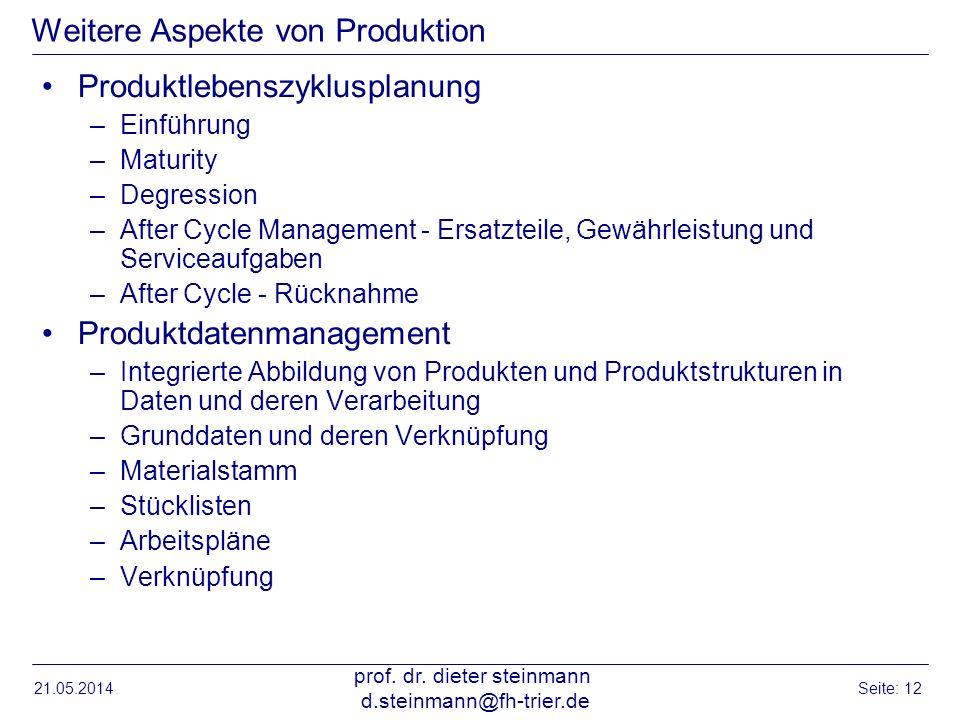 Weitere Aspekte von Produktion