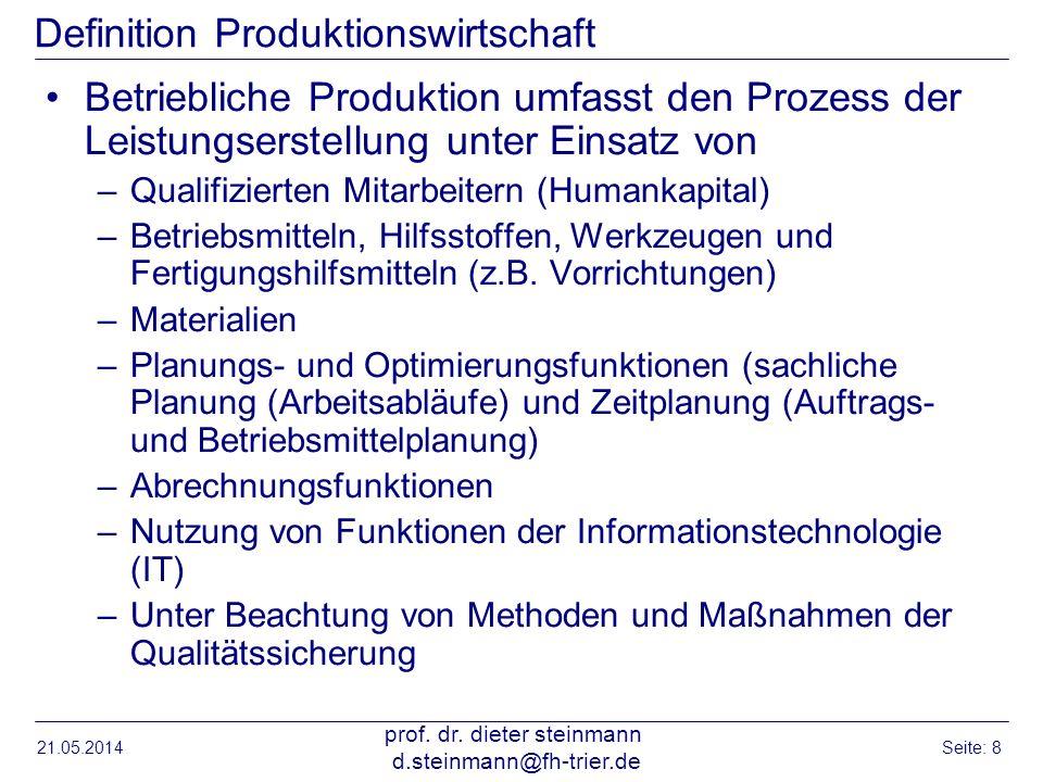 Definition Produktionswirtschaft