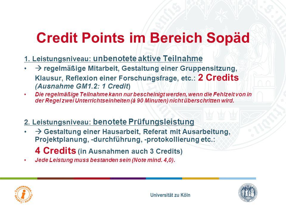 Credit Points im Bereich Sopäd