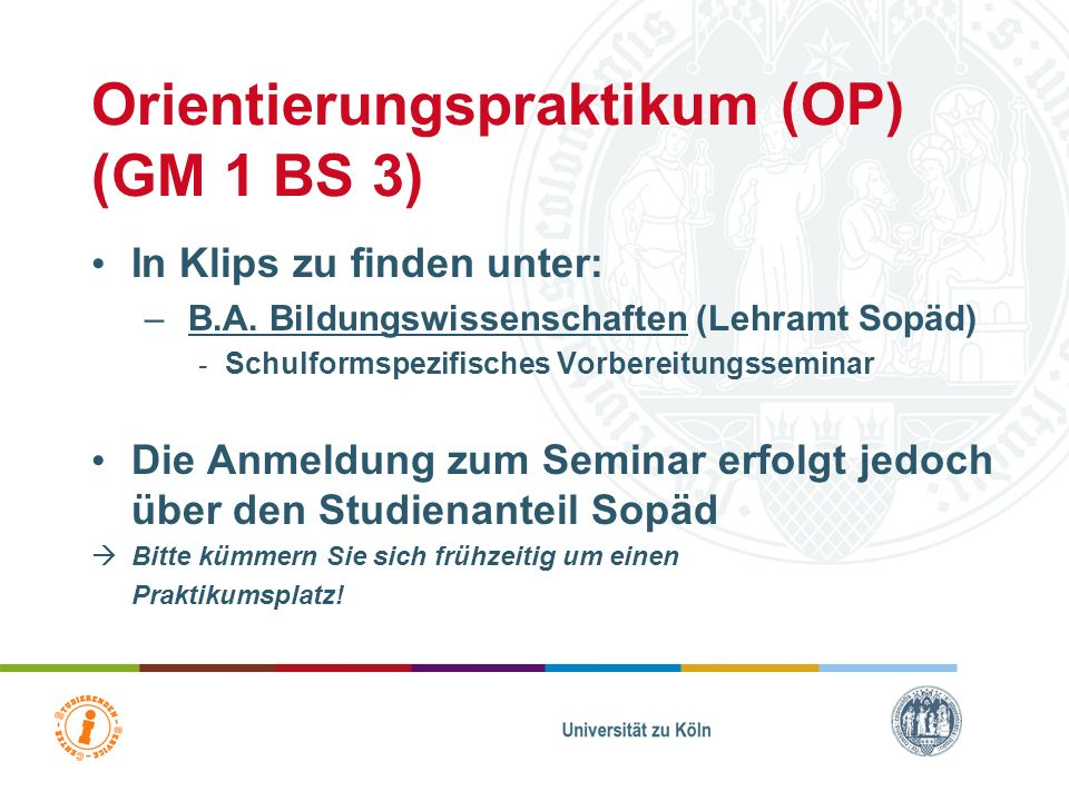 Orientierungspraktikum (OP) (GM 1 BS 3)
